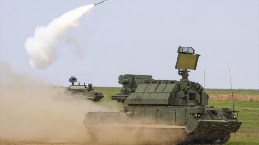 Sistemas antiaéreos rusos Tor-M2, durante una maniobra militar.