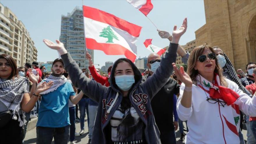Una protesta antigubernamental en Beirut, capital de El Líbano, 1 de mayo de 2020. (Foto: AFP)