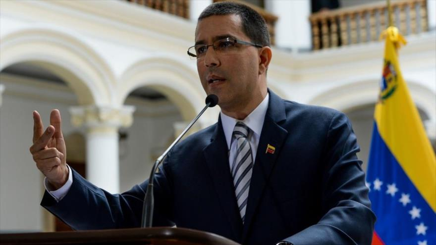 El canciller venezolano, Jorge Arreaza, durante una conferencia de prensa en Caracas.