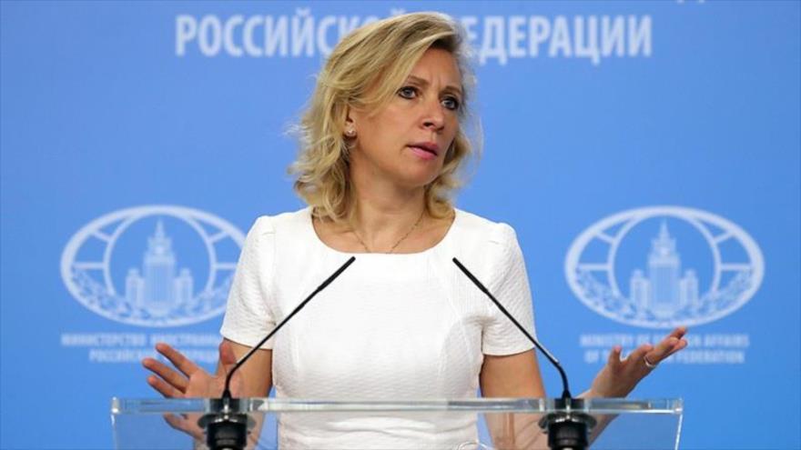 La portavoz de la Cancillería rusa, María Zajarova, en una conferencia de prensa en Moscú.