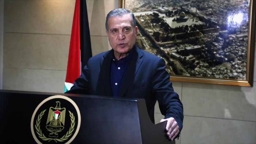 Nabil Abu Rudeineh, portavoz de la Presidencia de Palestina, en una rueda de prensa en la ciudad cisjordana de Ramalá.