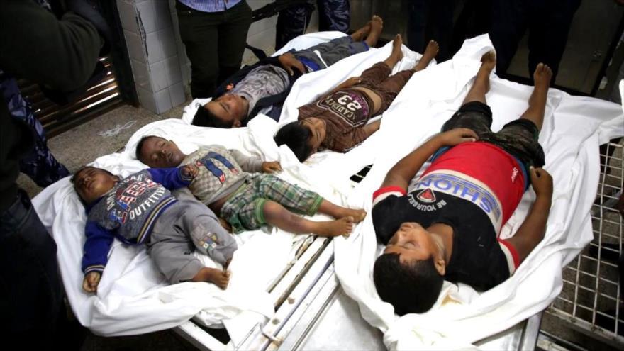 Los cuerpos de cinco niños de una misma familia muertos en un ataque aéreo israelí en Gaza. (Foto: middleeasteye.net)