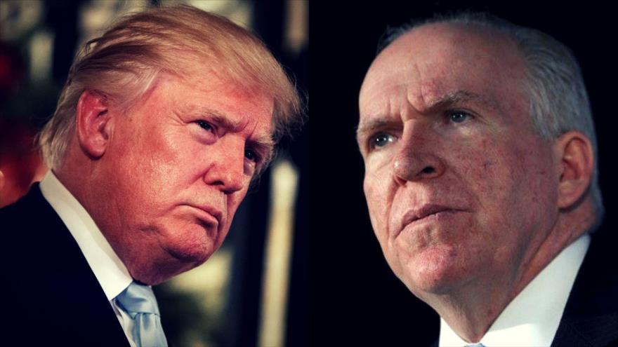 El presidente de EE.UU., Donald Trump (izda.) y el ex director de la CIA John Brennan.