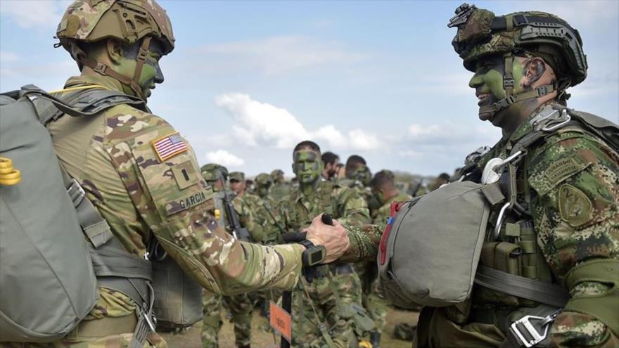 Soldados estadounidenses y colombianos en una ejercicio militar conjunto.