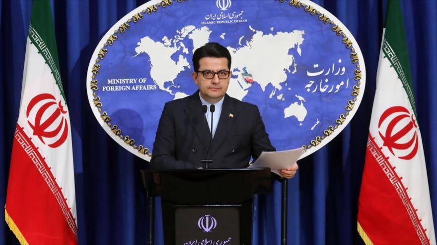 El portavoz de la Cancillería de Irán, Seyed Abás Musavi, en una rueda de prensa en Teherán, 15 de junio de 2020. (Foto: mfa.ir)