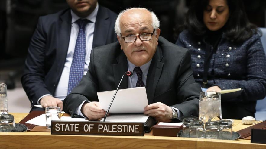 El embajador palestino ante la Organización de las Naciones Unidas (ONU), Riad Mansur.