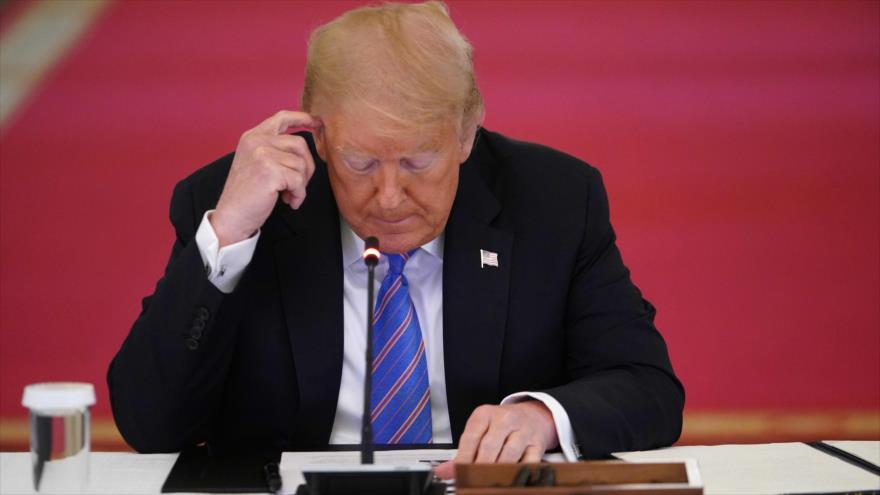 El presidente de EE.UU., Donald Trump, durante una reunión en Washington D.C., 26 de junio de 2020. (Foto: AFP)