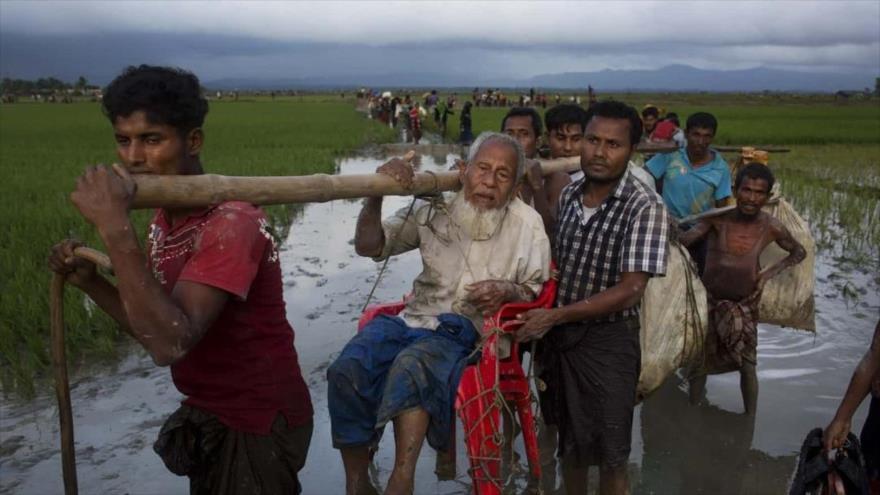 Un grupo de la minoría musulmana rohingya abandona sus hogares en el estado de Rajine, en el oeste de Myanmar, ante la represión del Ejército.