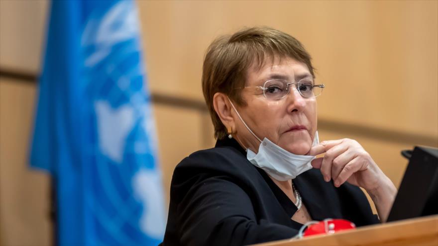 La alta comisionada de las Naciones Unidas para los Derechos Humanos, Michelle Bachelet, en un acto en Ginebra, 17 de junio de 2020. (Foto: AFP)