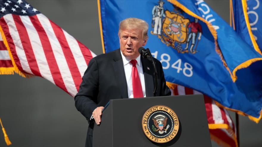 El presidente de EE.UU., Donald Trump, ofrece un discurso en la ciudad de Marinette, en el estado de Wisconsin, 25 de junio de 2020. (Foto: AFP)