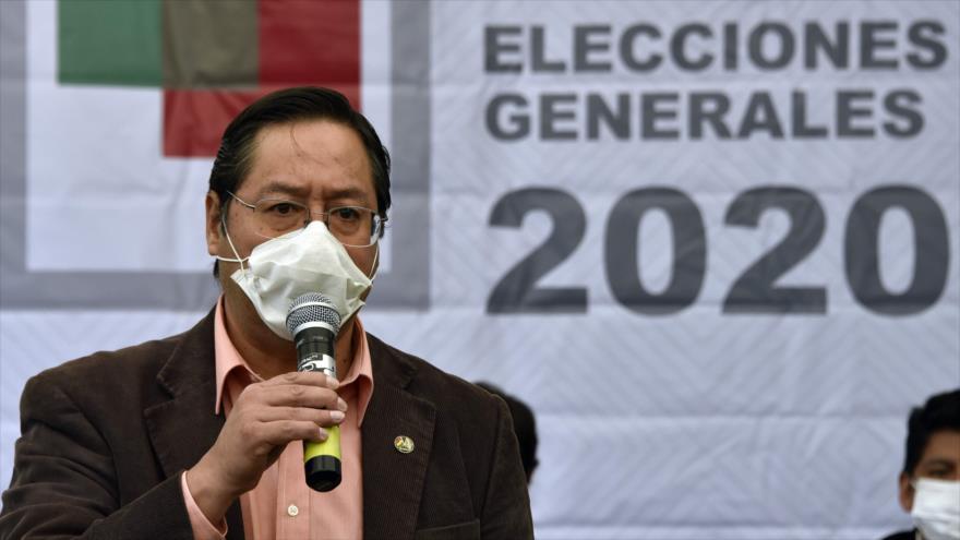 Luis Arce, candidato a la Presidencia por el Movimiento al Socialismo (MAS), en una rueda de prensa en La Paz, Bolivia, 2 de junio de 2020. (Foto: AFP)