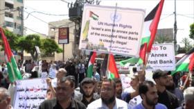 Miles de palestinos rechazan plan de anexión israelí en Gaza