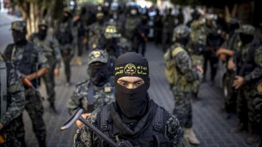 Miembros del movimiento Yihad Islámica Palestina durante un desfile militar en la ciudad de Gaza, 4 de octubre de 2018. (Foto: AFP)