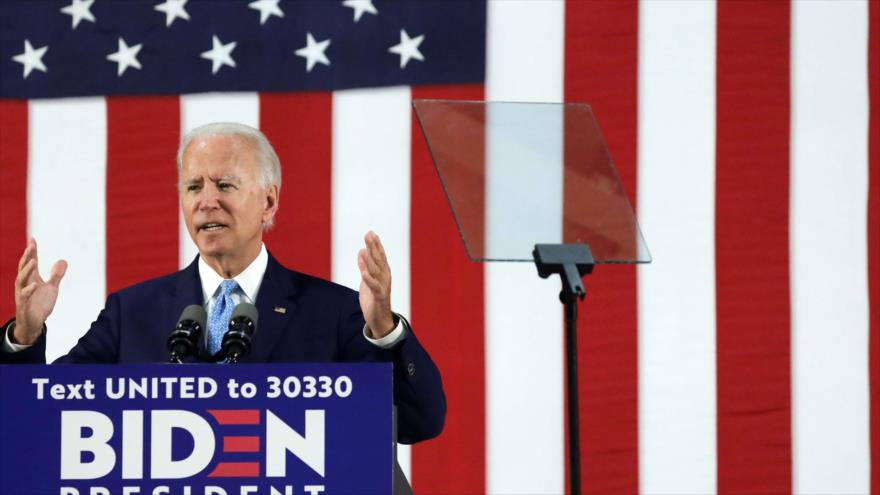 El candidato demócrata Joe Biden durante un evento de campaña en Delaware, 30 de junio de 2020.
