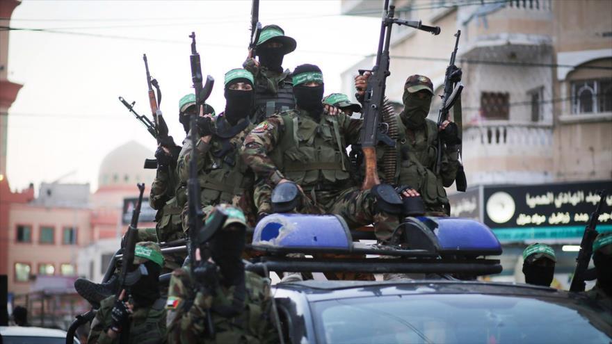 Integrantes de las Brigadas Ezzedin Al-Qassam, brazo armado de HAMAS, Franja de Gaza, 25 de julio de 2019.