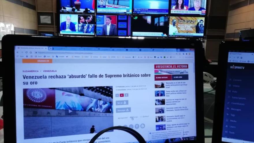Una imagen de la sala del sitio web de la cadena alternativa internacional de noticias en español, HispanTV, 3 de julio de 2020.