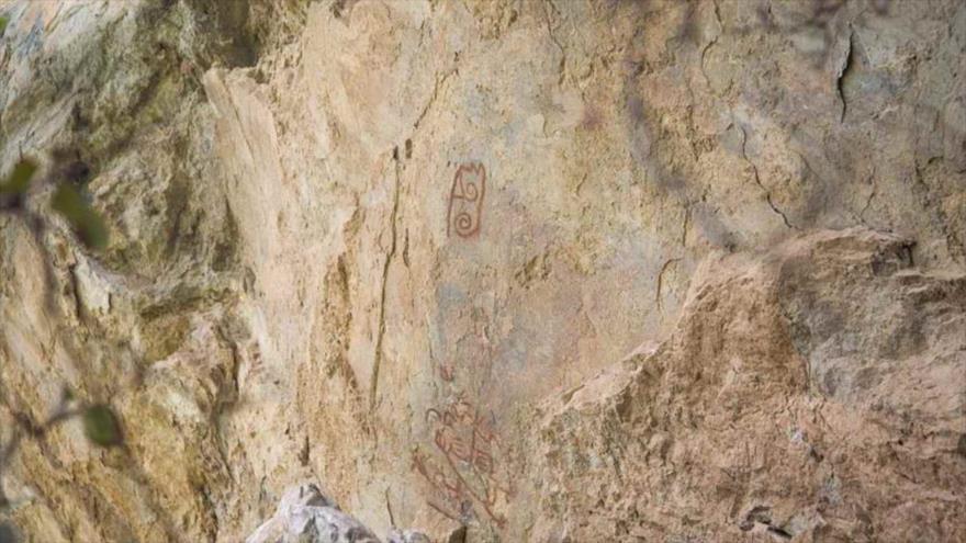 Una vista de un fragmento de una pintura rupestre en la comunidad de Santa María Mixtequilla, en el estado de Oaxaca (México) tomada el 2 de julio de 2020.