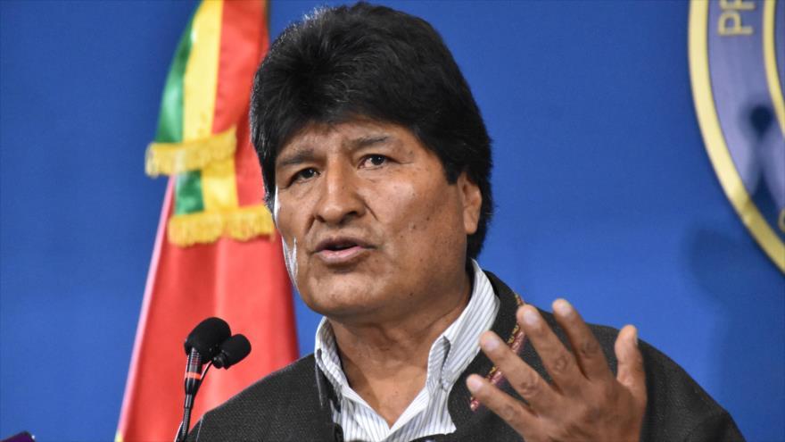El depuesto presidente de Bolivia Evo Morales, en una conferencia de prensa en El Alto, 9 de noviembre de 2019.