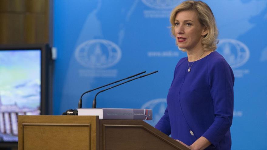 La vocera de la Cancillería rusa, María Zajarova, en una rueda de prensa en Moscú, capital de Rusia.
