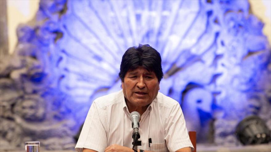 El depuesto mandatario boliviano, Evo Morales, en su primera conferencia de prensa en México, noviembre de 2019. (Fuente: Europa Press)