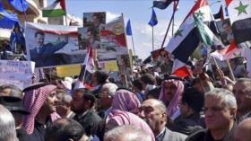 Pueblo sirio protesta contra agresiones de EEUU en Siria