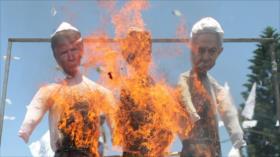 Palestinos rechazan plan de anexión, quemando muñecos de Netanyahu