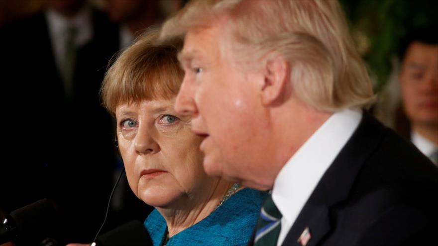La canciller alemana, Angela Merkel, y el presidente de Estados Unidos, Donald Trump