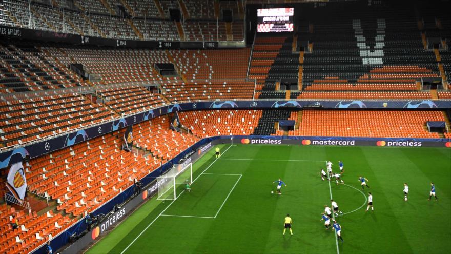Partido entre el Valencia CF y el Atalanta en la Liga de Campeones, 10 de marzo de 2020. (Foto: AFP)