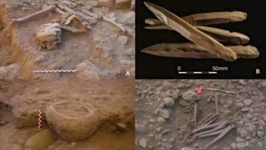 Arqueólogos españoles hallan figuras humanas neolíticas usadas para ritos funerarios e yacimientos excavados en Kharavsin (Jordania).