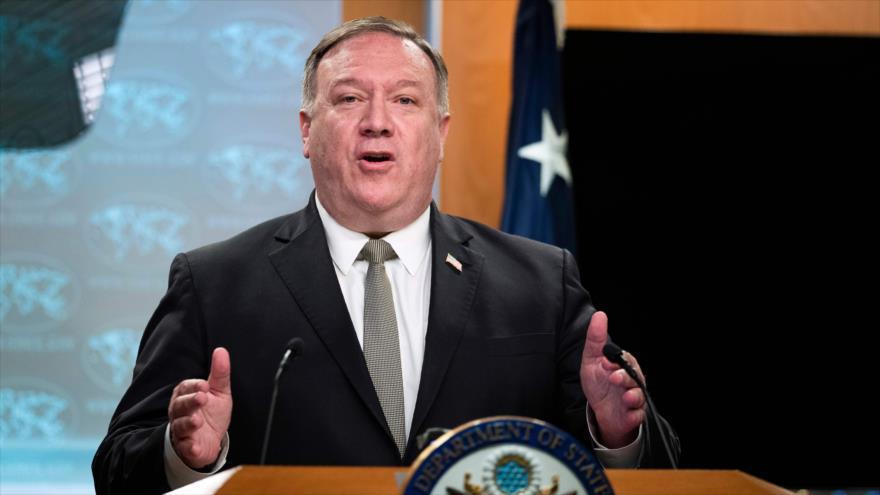 El secretario de Estado de EE.UU. ofrece un discurso durante una rueda de prensa en Washington D.C, la capital, 1 de julio de 2020. (Foto: AFP)