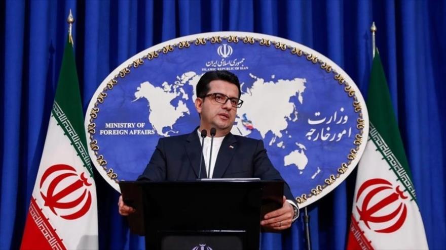 El portavoz de la Cancillería persa, Seyed Abás Musavi, en una rueda de prensa en Teherán, la capital.