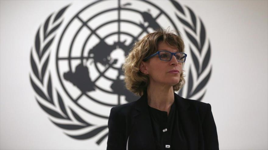 Relatora especial de la ONU sobre Asesinatos Selectivos y Ejecuciones Extrajudiciales, Agnes Callamard, en una rueda de prensa, El Salvador, 5 de febrero de 2018.
