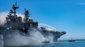 Fotos: Buque de Armada de EEUU arde tras una explosión