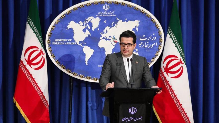 El portavoz de la Cancillería de Irán, Seyed Abás Musavi, durante una rueda de prensa en Teherán  (capital), 29 de junio de 2020. (Foto: Mehr News)