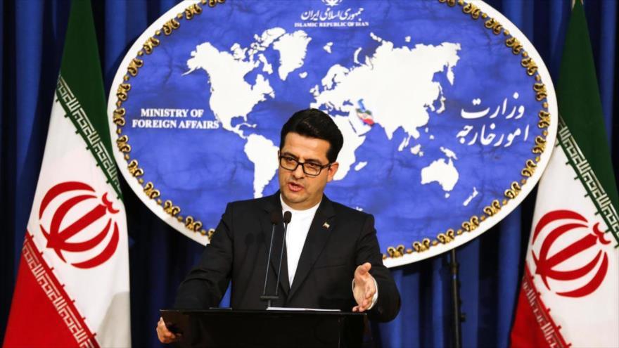 El portavoz de la Cancillería de Irán, Seyed Abás Musavi, en una rueda de prensa, Teherán.