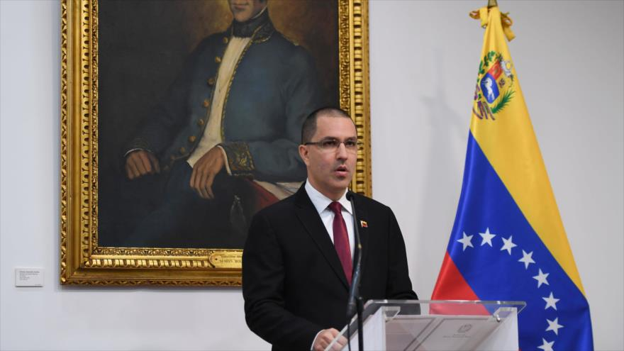 El canciller de Venezuela, Jorge Arreaza, en una rueda de prensa en Caracas, 5 de febrero de 2020. (Foto: AFP)