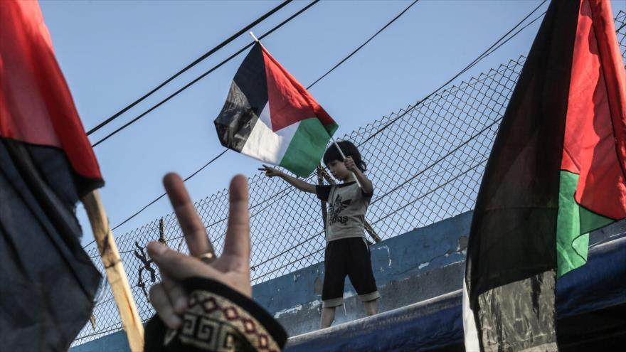 Palestinos en la Franja de Gaza izan banderas de su país en una marcha contra la anexión de Cisjordania por Israel, 2 de julio de 2020. (Foto: AFP)