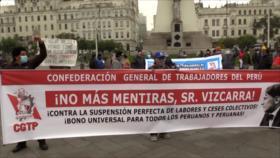 Trabajadores peruanos marchan por pérdida de empleos