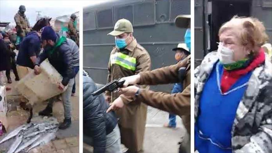 Vídeo: Carabinero apunta con revolver a anciana vendedora de pescado | HISPANTV