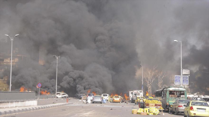 Una explosión en el centro de Damasco, capital de Siria. (Foto: SANA)