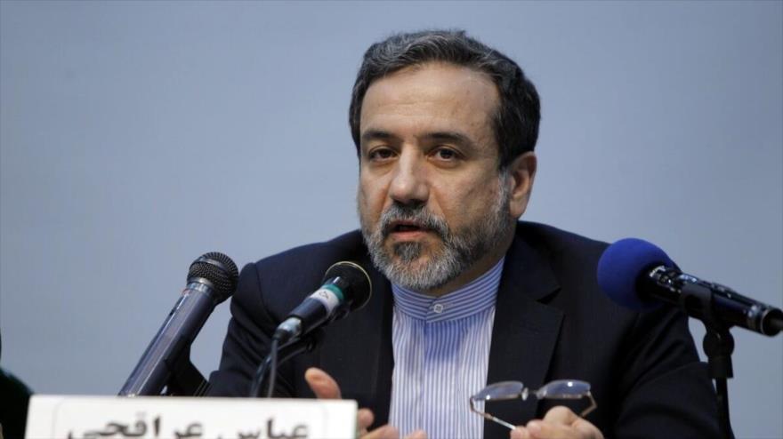 El vicecanciller para Asuntos Políticos, Seyed Abás Araqchi, en una rueda de prensa en Teherán (capital).