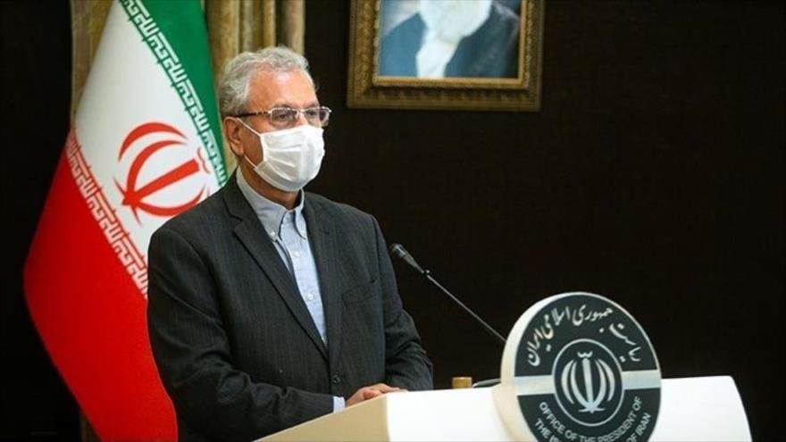 El portavoz del Gobierno de Irán, Ali Rabiei, durante una rueda de prensa en Teherán, capital iraní, 21 de julio de 2020. (Foto: Tasnimnews)