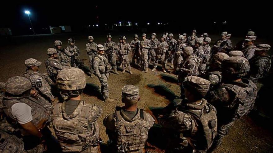 Fuerzas estadounidenses en la base de Al-Tayi en Bagdad, capital iraquí.
