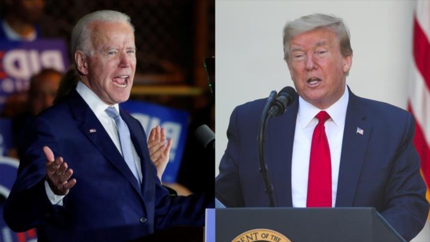 El actual presidente de EE.UU. y aspirante a la reelección, Donald Trump (dcha.), y su rival demócrata, Joe Biden.