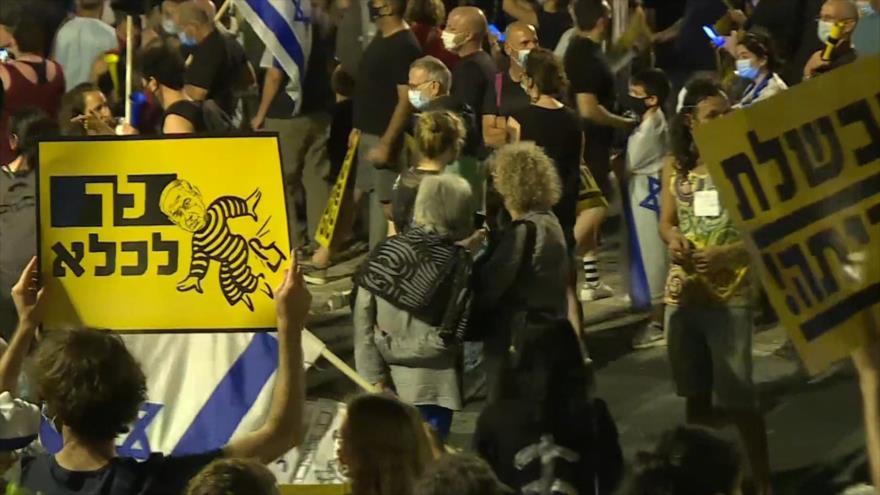Israelíes protestan contra mala gestión de Netanyahu ante COVID-19
