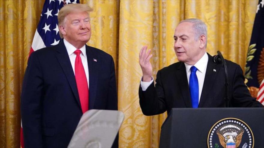 Premier israelí, Benjamín Netanyahu (dcha.), y Donald Trump, en una conferencia de prensa, la Casa Blanca, Washington, 28 de enero de 2020. (Foto: AFP)