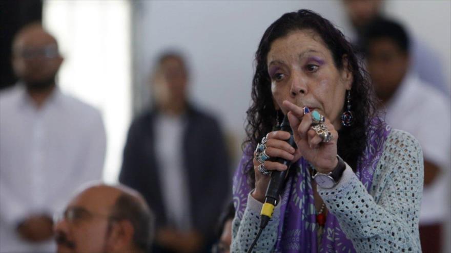 La vicepresidenta de Nicaragua, Rosario Murillo, en una rueda de prensa en Managua, 31 de julio de 2020.