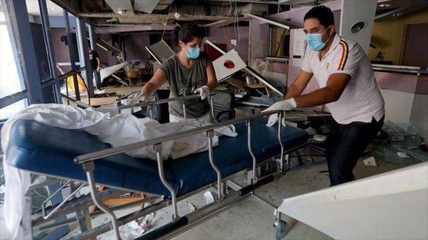 Un hospital destruido tras la explosión en el puerto de Beirut, capital libanesa, 4 de agosto de 2020.