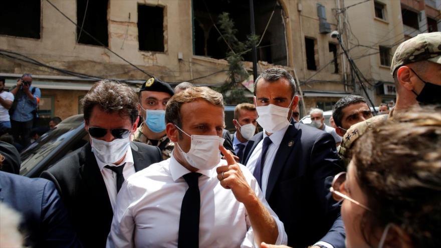 El presidente de Francia, Emmanuel Macron, de visita en Beirut, la capital de El Líbano, 6 de agosto de 2020. (Foto: Reuters)