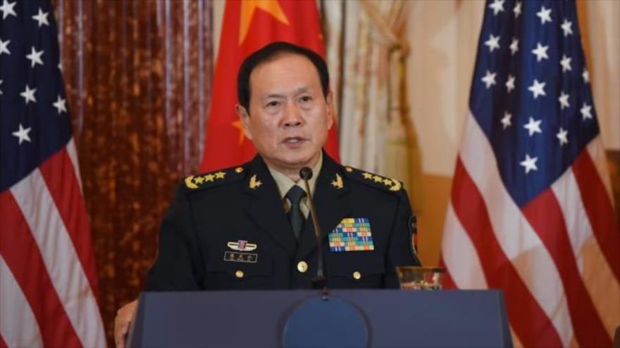 El ministro chino de Defensa, el general Wei Fenghe, habla durante una ronda de diálogos EEUU-China en Washington, 9 de noviembre de 2018.